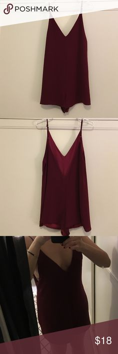 Brand-new, maroon red romper Never worn (except to take pics) cute/sexy romper. The cut is more of a straight cut and it has adjustable straps. Honey Punch Dresses
