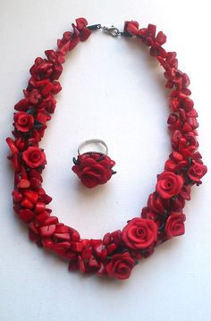 Coral red necklace and ring Red ring Red necklace by insou on Etsy, $30.00