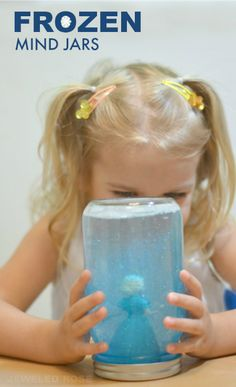 Frozen Mind Jars- easy to make and great for soothing kids and calming them down. These work great for time-out time, too! Frozen Theme, Frozen Party, Frozen Birthday, Toddler Fun, Toddler Activities, Activities For Kids, Preschool Ideas, Frozen Activities, Calming Activities
