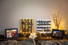 My sun and stars. Moon of my life. A set of hand painted metallic and distressed wooden signs.
