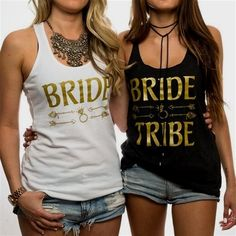Bride Tribe ✦ This listing is for bride tribe tank top. If you want to create a whole set just add each item to your cart and then checkout at the end!✦ The Bride and Bride Tribe tank tops…More Wedding Day Shirts, Bridal Party Shirts, Bachelorette Party Gifts, Bride Shirts, Bachelorette Shirts, Bachelorette Ideas, Bachelorette Weekend, Wedding Stuff, Yard Wedding