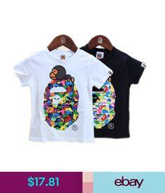 b21d9bab31a3 Boys  Clothing (Sizes 4   Up) A Bathing Ape Bape Kids Boy Girl Multi-Color  Ape Head Shoulder Tee Shirt  ebay  Fashion