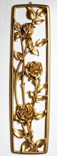 Syroco Hollywood Regency Hanging Wall Decor Elegant Roses Classic Mid Century