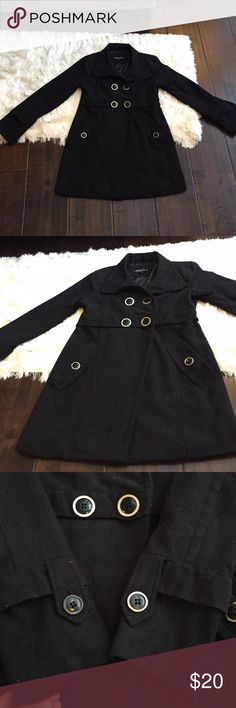 Rue21 black peacoat size L Rue21 black peacoat size L. One of the buttons on the arms doesn't have the outer ring around it like the others which isn't super noticeable. Material is somewhat pilly. Rue 21 Jackets & Coats Pea Coats