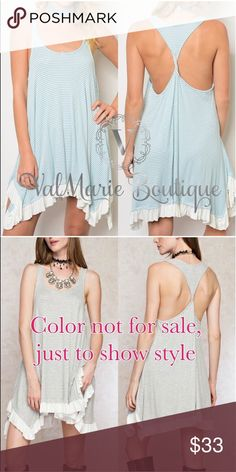 """📍CLEARANCE 📍Handkerchief Hemline Dress 🇺🇸MADE IN USA - Gorgeous Scoop Neck Sleeveless Handkerchief Hemline Mini Dress. Made of 97% rayon, 3% spandex. So gorgeous and flowy. Fits true to size. Apprx 35"""" long. Get them quick. Perfect for summer. Color for sale is first cover photo. Second picture just show for styling option. S(2-4) M(6-8) L(10-12). Pair with the seamless invisible silicone backless bra in my closet to complete the look! ValMarie Boutique LLC Dresses"""