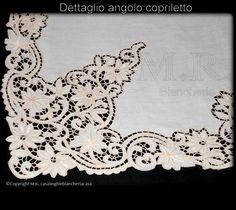 Trittico copriletto Lenzuolo & tovaglia lino ricamo intaglio filo seta colore naturale