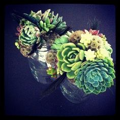 Pretty succulent and echeveria bouquets by The Flower Factory on http://WedOverHeels.com | Photo on instagram by http://revelevents.ca