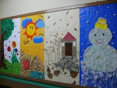 seasons  Students could be broken up into groups and given the task of decorating a bulletin board that is representative of their assigned season.