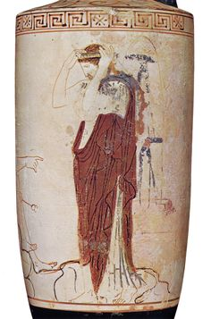 Etruscan white lekythos C.550BC. Hermes beckons with his right to a woman who wears a heavy mantle over a lighter chiton and adjusts a 'crown' on her head. She stands on the ground, already enveloped by the rocks. In the background, behind the rocks, a shaft-like tomb on a stepped base has been decked with ribbons.
