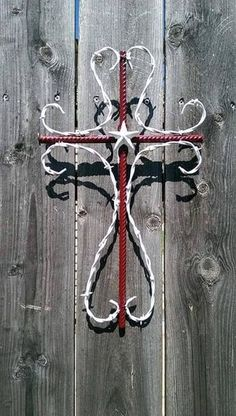 Barbed wire cross with rebar by CustomBarbedWireShop on Etsy