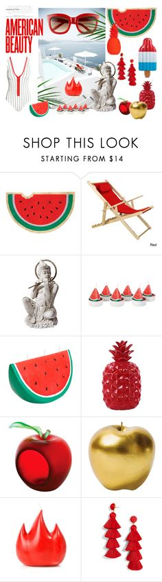 """Red fever"" by medusart ❤ liked on Polyvore featuring interior, interiors, interior design, home, home decor, interior decorating, Sunnylife, Daum, Bitossi and Wik Studios"