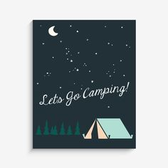 """With an effortless modern style, Lucy Darling offers a high-quality """"Let's Go Camping"""" art print designed to help celebrate the darling moments of a baby's life"""