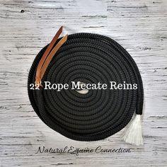 "10/' x 1//2/"" BLACK Yacht Rope Loop Mecate SLOBBER STRAPS w Antique Star CONCHOS"