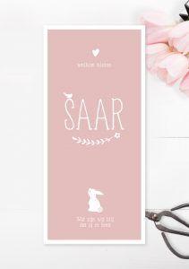 Geboortekaartje pink perfect roze meisjes meisje lief konijntje