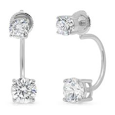 0d70267ed72 Round Cut Dual Double Stud Drop Dongle Earrings White Gold Screw Back