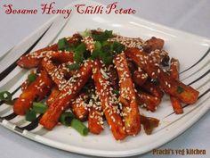 Prachi's veg kitchen: Sesame Honey Chilli Potato