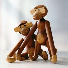 Kay Bojesen wooden monkey, designed in 1951. Mfr Rosendahl.