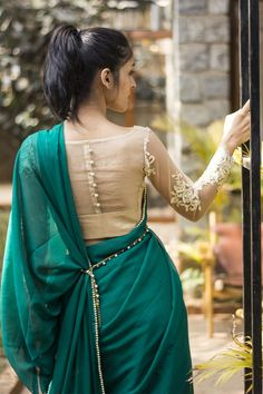 Latest Blouse Back Neck Designs - Buy lehenga choli online Blouse Back Neck Designs, Netted Blouse Designs, Indian Blouse Designs, Sari Design, Saree Blouse Patterns, Designer Blouse Patterns, Pattern Blouses For Sarees, Stylish Blouse Design, Beautiful Blouses