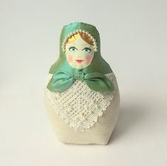 Babushka art doll, Russain doll. Shabby chic cloth doll, emerald green silk  and linen. OOAK beautiful doll, great gift. Limited edition