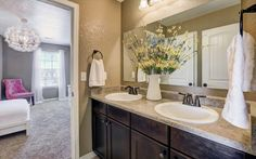 Traditional Full Bathroom with Complex granite counters, Flat panel cabinets, complex granite tile floors, High ceiling
