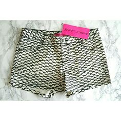 "Sale! Betsey Johnson Mermaid Scales Shorts Brand NWT!  Very chic patterned shorts by Betsey Johnson! Features a black & white mermaid scales print, heart metal studs, and Betsey kiss logo inside fly- see pic 3! Rock this designer summer piece for a third of retail price!   These fit true to size, Sizes 2, 4 & 6 in stock. Sits just under hips, measurements are: Sz 2- 30"", Sz 4- 31"", Sz 6- 32"". All measure 11"" top to hem.  NO TRADES. Betsey Johnson Shorts"