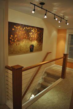 home remodel waukesha, cable rail, cherry hand rail, track lighting