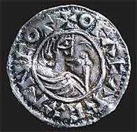 Silver penny of Olof Tribute-king, king of Sweden, minted in the 990s  ©.   I'm not certain if this would have been a penny with the tribute to King Olaf Bjornsson of Sweden back in the day.  He was my 34th great grandfather on the maternal side of my family through my mother's father's line.