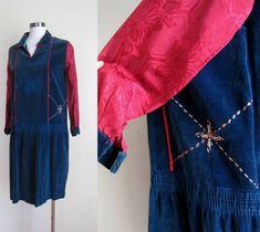 1920s Dress / Velvet Folk Dress RARE Embroidered Drop Waist Flapper Dress As Is by GuermantesVintage on Etsy https://www.etsy.com/listing/109113272/1920s-dress-velvet-folk-dress-rare