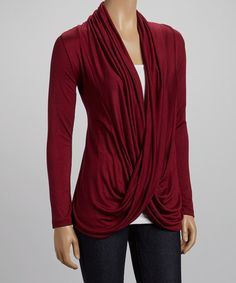 Burgundy Drape Neck Top