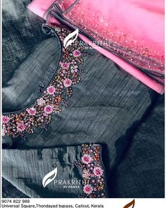 Ping me for more details 9746397711 Embroidery On Kurtis, Hand Embroidery Dress, Kurti Embroidery Design, Bead Embroidery Patterns, Embroidery Suits, Embroidery Fashion, Embroidered Blouse, Fancy Blouse Designs, Dress Neck Designs