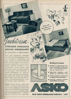 Tuokiossa viihtyisästä olohuoneesta mukavaksi makuuhuoneeksi! - Askon vanha lehtimainos vuodelta 1938