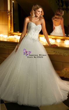 AZ12 Stock Free Shipping White/Ivory Applique Tulle Sweetheart Shiny Ball Gown Wedding Dresses 2014