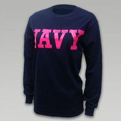Navy Women's Block Longsleeve T-Shirt   ArmedForcesGear.com   Armed Forces Gear