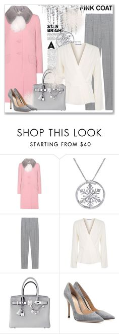 """Hey, Girl: Pretty Pink Coats"" by andrejae ❤ liked on Polyvore featuring Miu Miu, Amanda Rose Collection, Étoile Isabel Marant, Elizabeth and James, Hermès, Gianvito Rossi, polyvoreeditorial, polyvorecontest and pinkcoats"