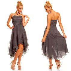 Knielanges Bandeau Kleid Chiffon Ballkleid Abendkleid Cocktailkleid Festkleid