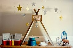 Decorate with coolers, baskets:  Get Outdoors-Camping Themed Party Ideas Here