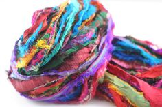 Tibet Jewels is a recycled silk sari ribbon yarn that can be used for knitting, crochet, weaving, spinning with your favorite fiber, or wrapping presents. This