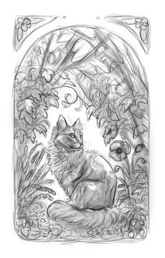 artofmaquenda: A teacher of mine asked me to make a portrait of her recently passed cat. I'm using all the plants that she really likes and are growing in her garden. She really likes Art Nouveau so I'm doing my best to draw something like that. Draw Something, Art Nouveau, Wolf, Teacher, Portrait, Drawings, Cats, Garden, How To Make