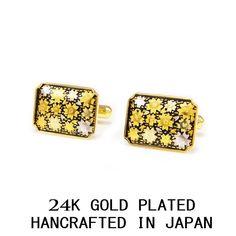 SAKURA SILVER & GOLD LEAF 3 MICRON 24K GOLD PLATED CUFF LINKS MADE IN JAPAN #Handmade