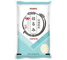 スタジオエーワン 茨城県産はるみ Rice Packaging, Organic Packaging, Japanese Packaging, Beverage Packaging, Brand Packaging, Japan Design, Ad Design, Label Design, Package Design