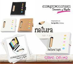 OFI-142 Mini libreta ecológica con cintas adhesivas de colores. Incluye mini bolígrafo.