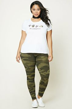 PLUS SIZE ARMY LEGGINGS #style #fashion #trend #onlineshop #shoptagr