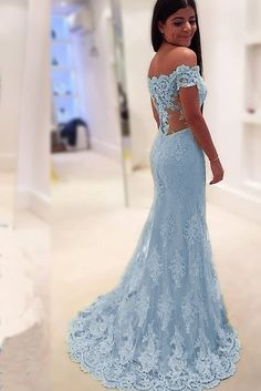 Off Shoulder Sweetheart Mermaid Prom Dress Lace Formal Party Dress - Party & Wedding Baby Blue Prom Dresses, Mermaid Prom Dresses Lace, Prom Party Dresses, Ball Dresses, Homecoming Dresses, Lace Dress, Ball Gowns, Bridesmaid Dresses, Formal Dresses