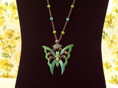 Necklace- oil drop enamel crystal -rhinestones #KikisCollections, $12.00... Butterfly