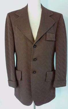 Vintage 70s Western Disco Lebaron California Clothes Mens Sport Coat Blazer 39R