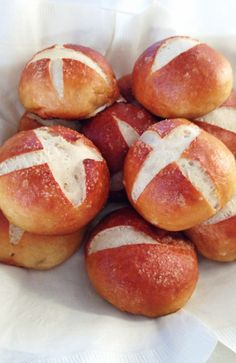 Chewy pretzel rolls! Salty and chewy on the outside, but soft and fluffy on the inside!