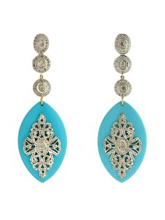 Turquoise Oval & Diamond Earrings