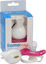 Besides Karim Rashids delightful design, iiamo string offers two important benefits to parents and their babies: it both prevents the pacifier from slipping to the ground as it is attachable to the babys clothes and also equally important protects and helps keeping the iiamo peace pacifier clean and hygienic once stowed away in a baby bag or elsewhere. A silicone ring allows easy and quick attachment to the iiamo peace pacifier.