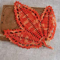 Crochet bookmark Melange leaf tab Irish crochet leaves by MyWealth