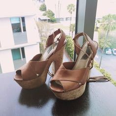 Lace Up Cork Heels Lace up cork platform leather heels by Steve Madden, not like new, worn. Wearing shows in various areas. Price reflects! Steve Madden Shoes Platforms